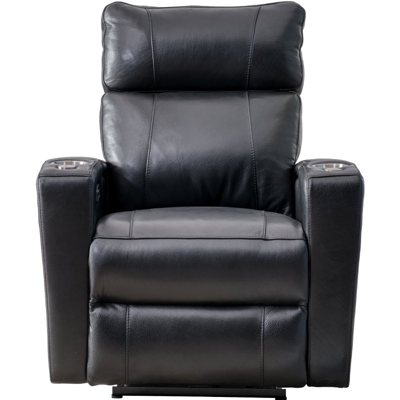 Black Leather-Match Triple Power Theater Recliner - Carter