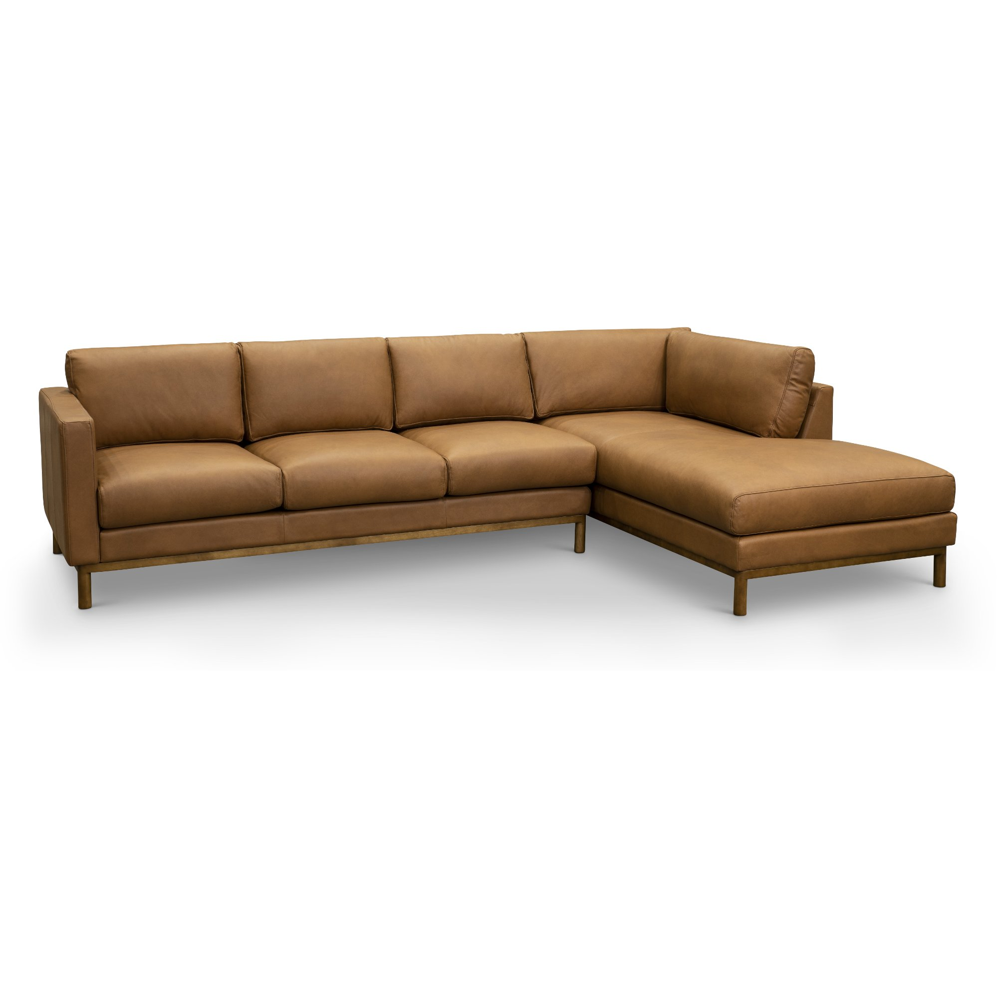 Brown Leather 2 Piece Sectional Sofa with RAF Chaise - Freehand