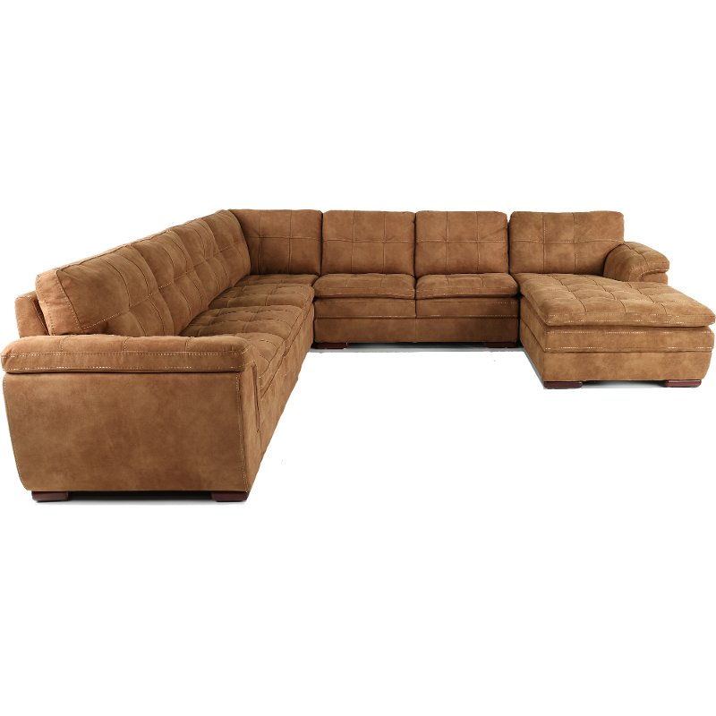 Taupe Brown 5 Piece Sectional Sofa With Raf Chaise Sandy Rc Willey Furniture Store