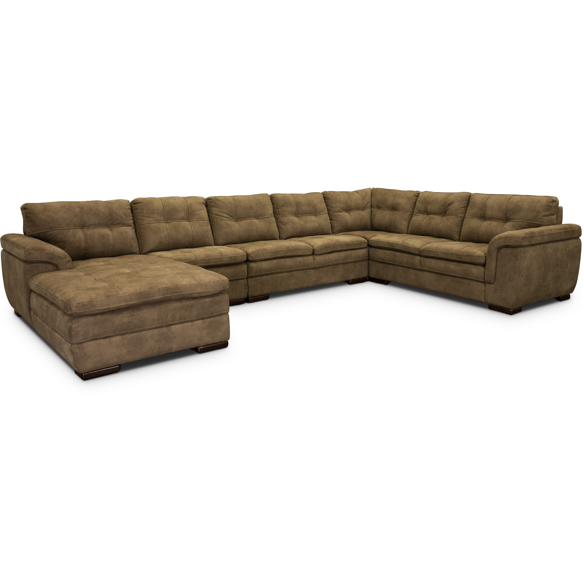 Taupe Brown 5 Piece Sectional Sofa with LAF Chaise - Sandy