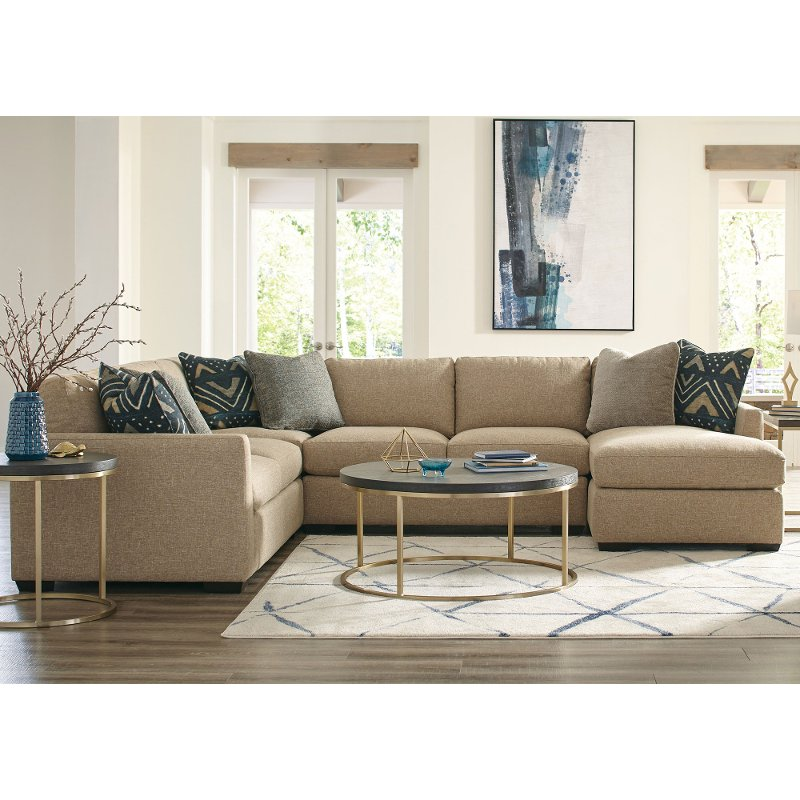 Beige 4 Piece Sectional Sofa with RAF Chaise - Notion