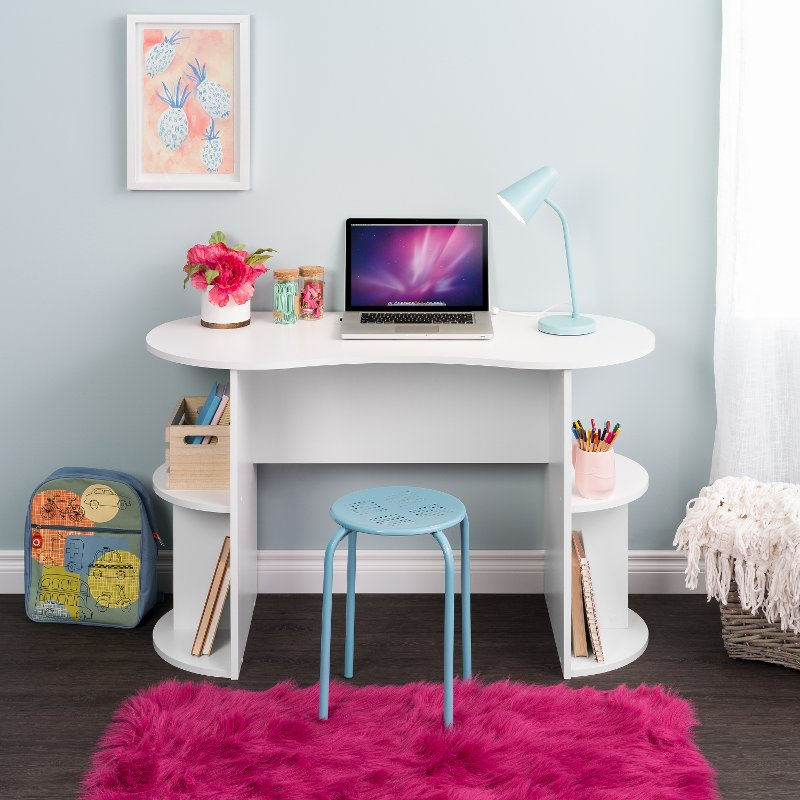 Small White Student Desk with Storage