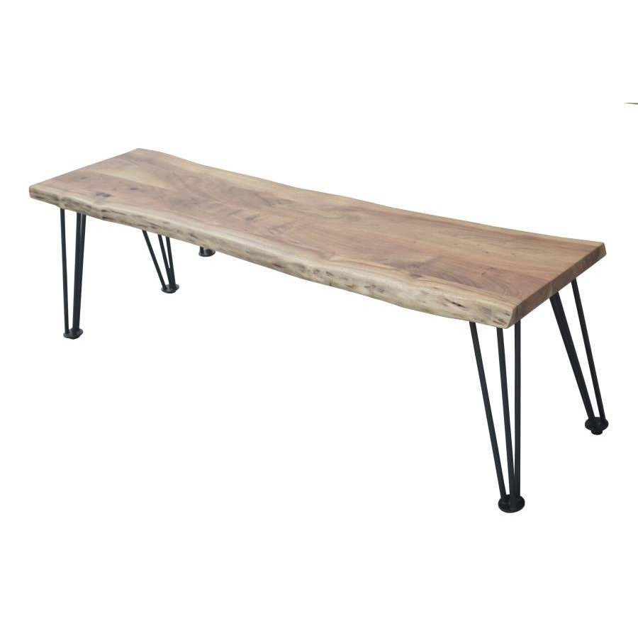 Swell Rustic Industrial Acacia Wood And Metal Bench Camden Machost Co Dining Chair Design Ideas Machostcouk