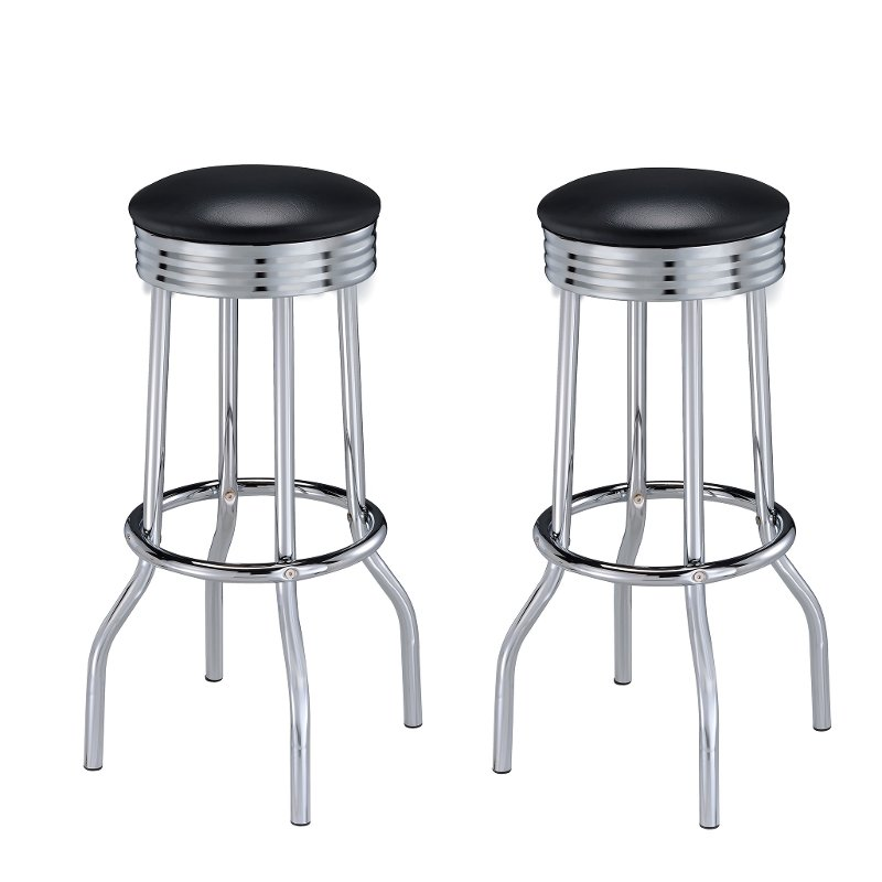 Miraculous Retro Black And Chrome 30 Inch Barstool Abigail Pabps2019 Chair Design Images Pabps2019Com