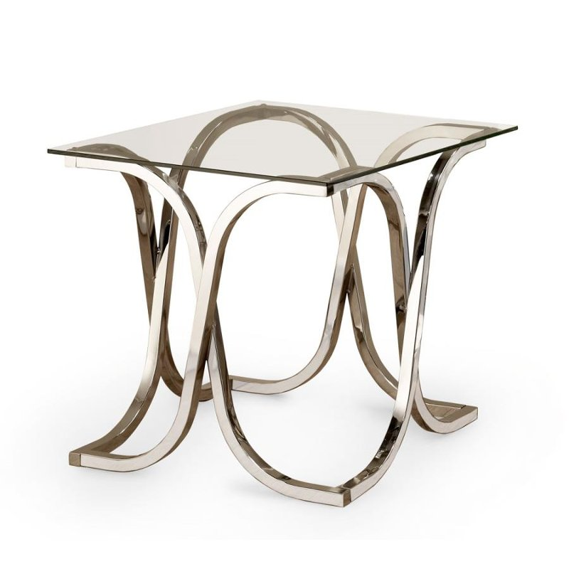 Contemporary Chrome And Glass End Table Chevy Rc Willey