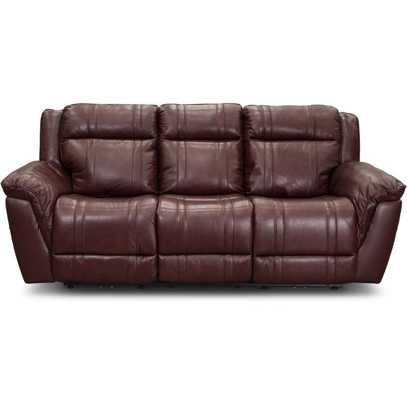 Chili Red Leather-Match Power Reclining Sofa with Adjustable Headrest -  Trent