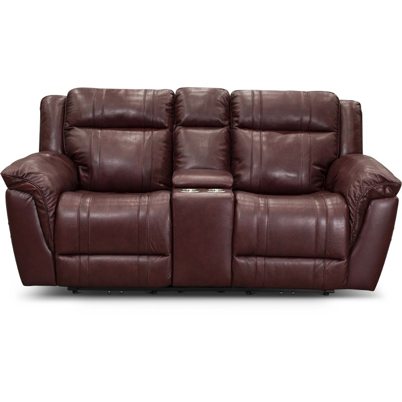 Chili Red Leather-Match Power Reclining Console Loveseat with Adjustable  Headrest - Trent