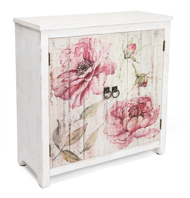 Fl 2 Door Cabinet Botanical, Whitewash Cherry Cabinets