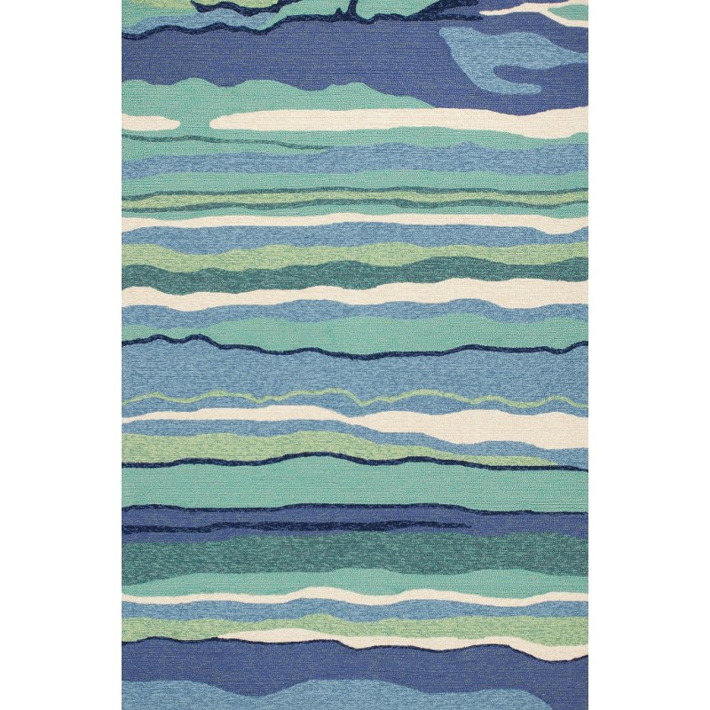 5 X 7 Medium Blue And Turquoise Indoor Outdoor Rug Harbor Rc