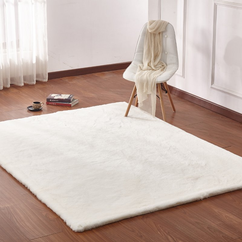 Large Faux Fur Off White Area Rug