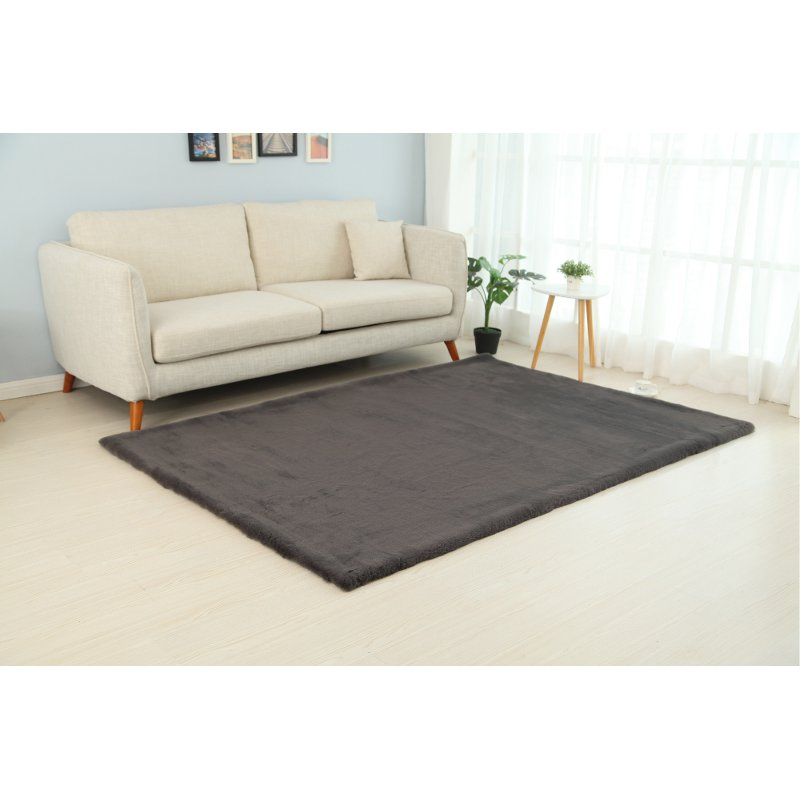 8 X 10 Large Faux Fur Gray Area Rug
