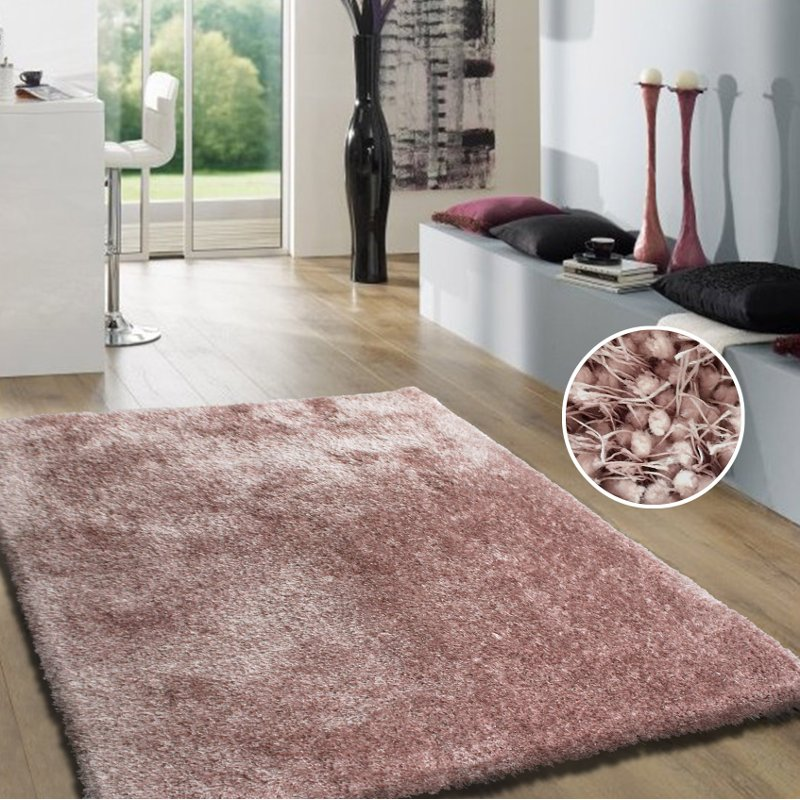 Dusty Pink Shag Rug Shaggy Viscose