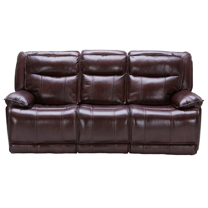 Bordeaux Burgundy Leather-Match Power Triple Reclining Sofa with Power  Headrests - Triple-Play