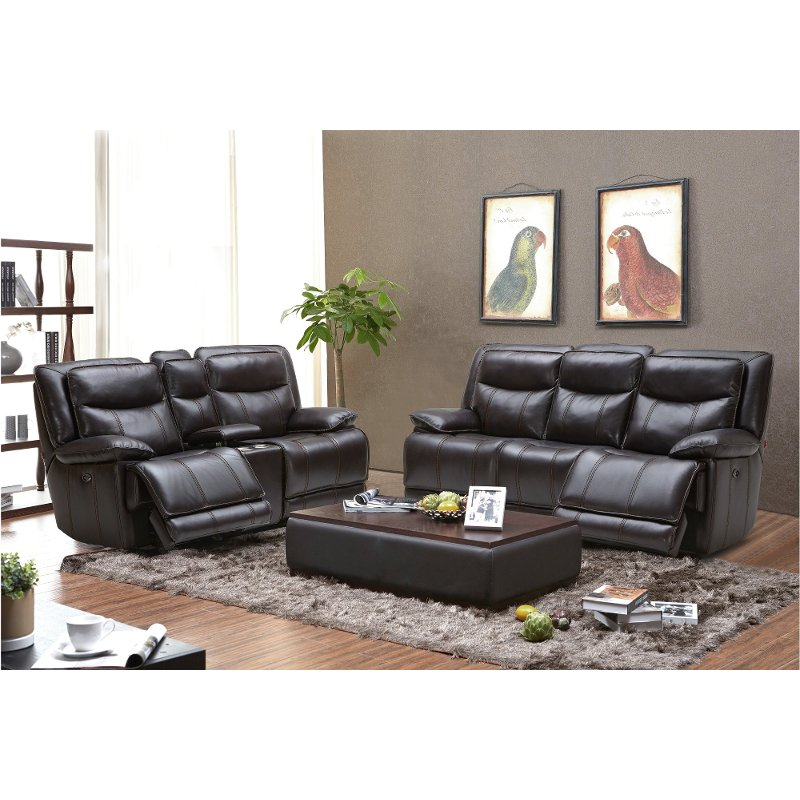 Blackberry Leather-Match Power Reclining Living Room Set - Triple-Play