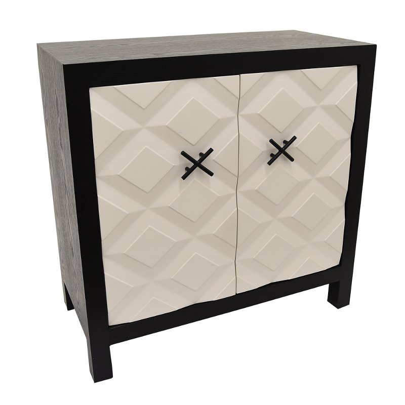 Modern Black Cabinet with White Doors and X Handles