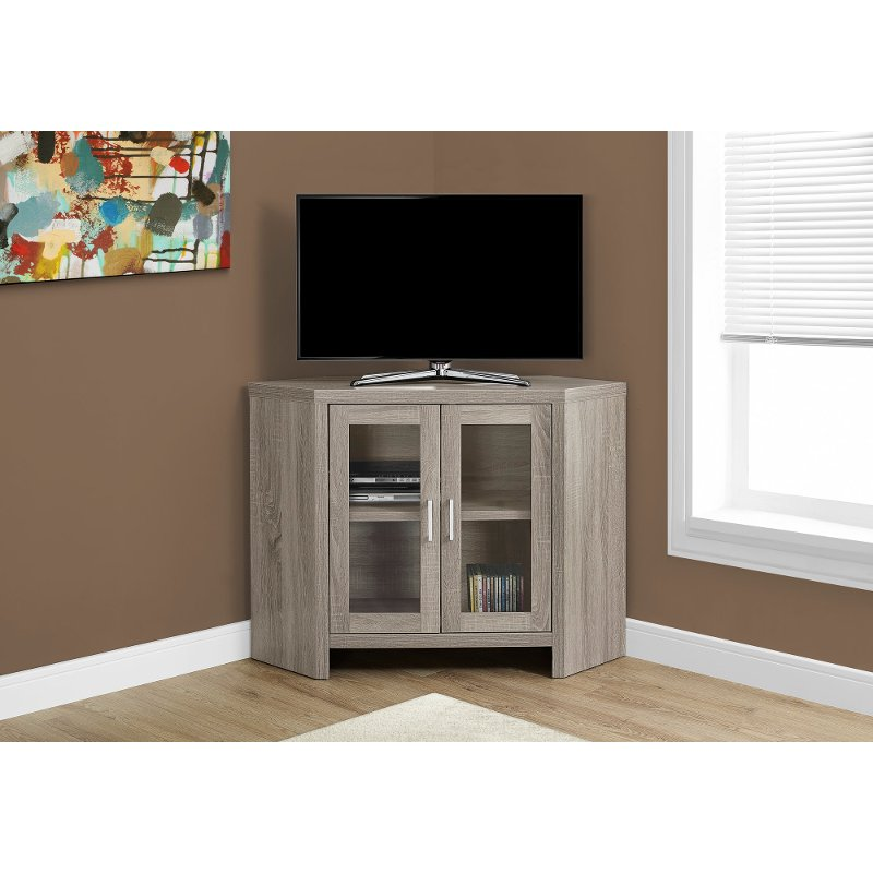Dark Taupe 42 Inch Corner Tv Stand Rc Willey Furniture Store