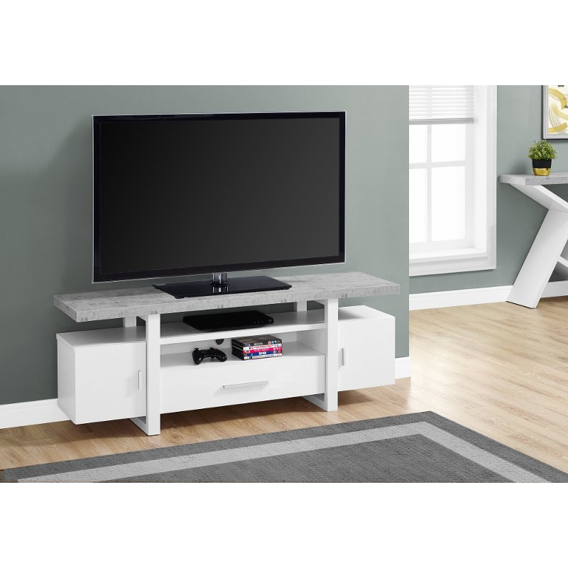 White And Cement Gray Top 60 Inch Tv Stand Rc Willey Furniture Store