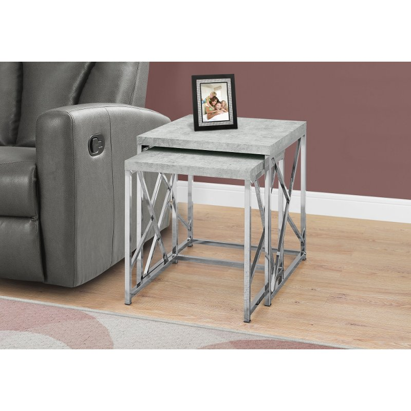 Cement Gray 2 Piece Nesting End Tables