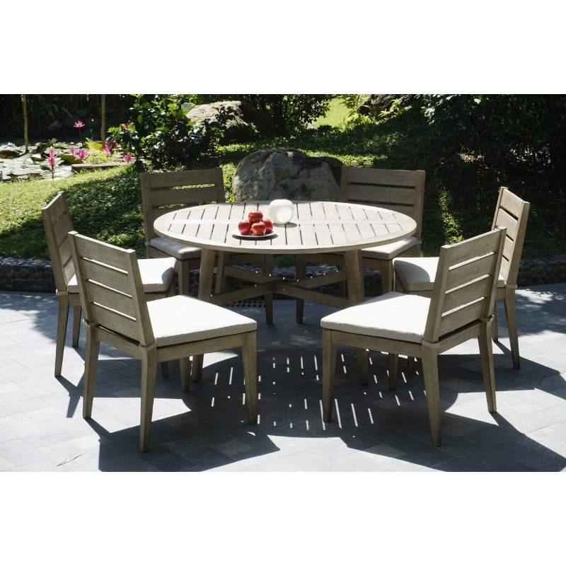 Round Table Patio Dining Sets.Weathered Gray Eucalyptus Wood Patio Dining Set Round Glades Rc