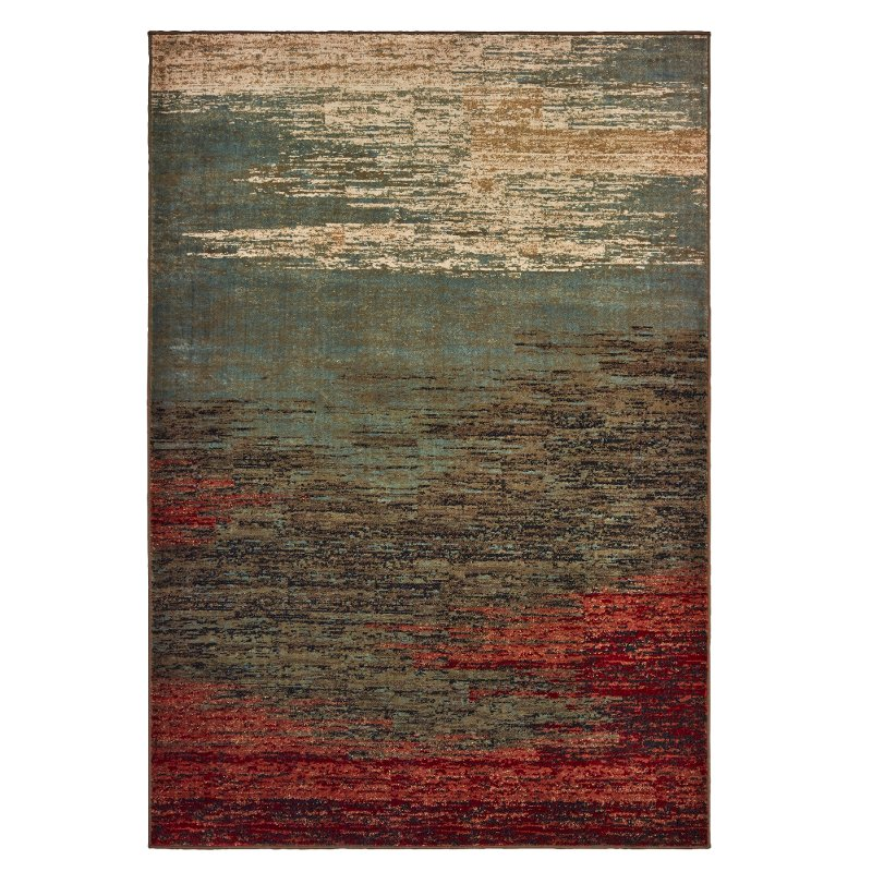 5 X 7 Medium Abstract Red Blue And Green Area Rug Laurel Rc Willey Furniture Store