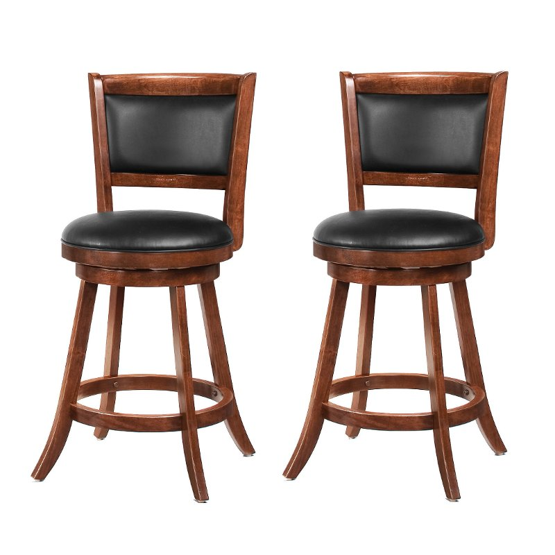 Incredible Brown And Black 24 Inch Swivel Counter Height Stool Set Of 2 Antoine Squirreltailoven Fun Painted Chair Ideas Images Squirreltailovenorg