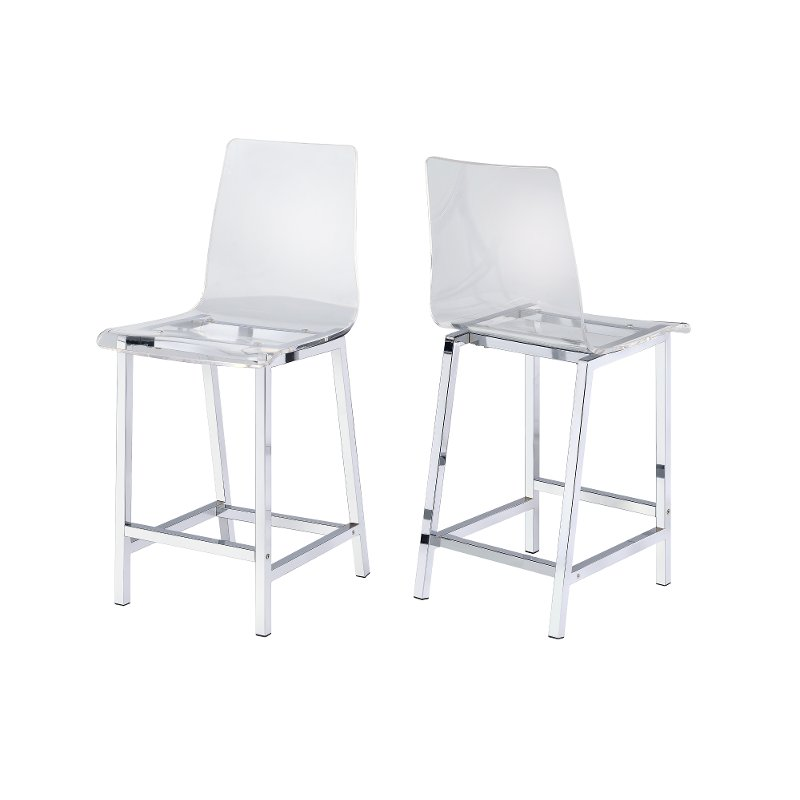 Fine Modern Clear And Chrome 24 Inch Counter Height Stool Set Of 2 Amari Evergreenethics Interior Chair Design Evergreenethicsorg