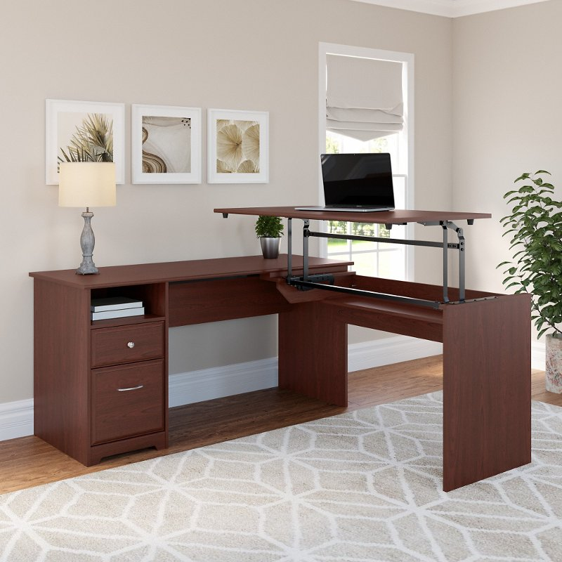 Harvest Cherry L Shaped Sit To Stand Office Desk Cabot