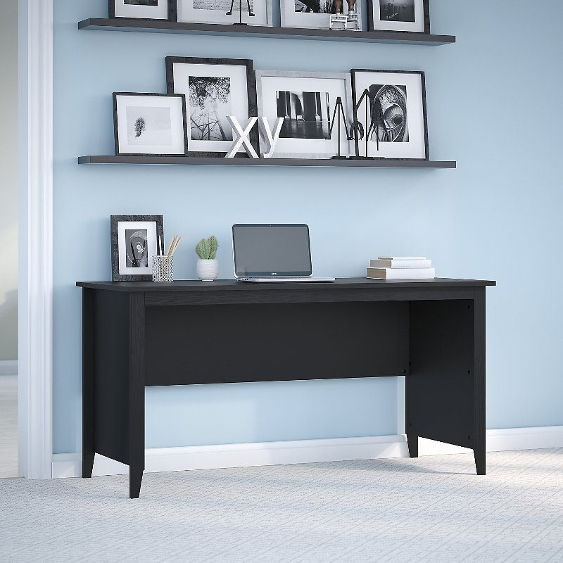 Kathy Ireland Black Suede Writing Desk Connecticut Rc Willey