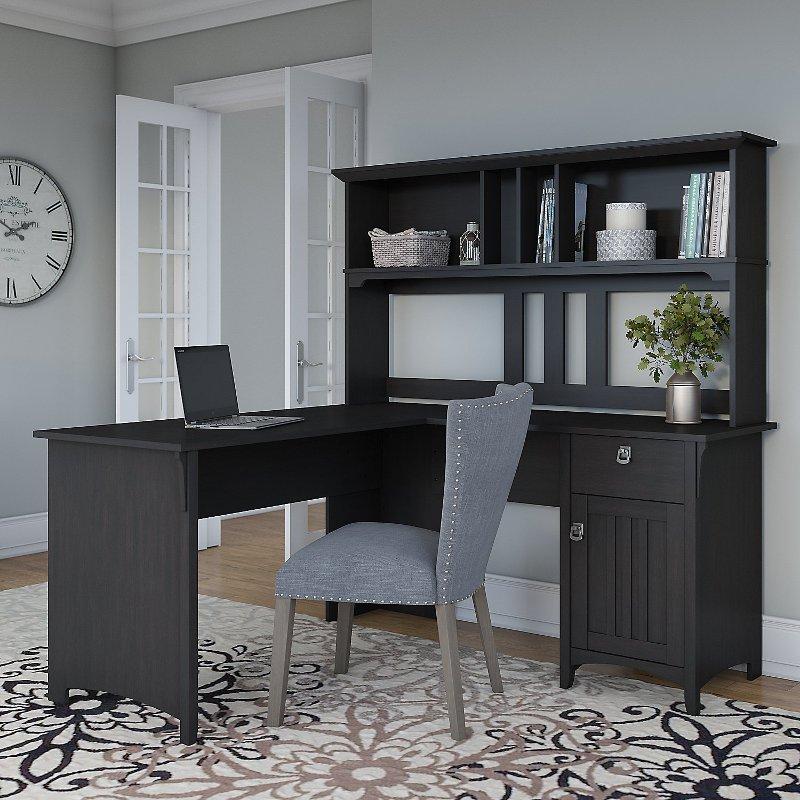 Vintage Black L Shaped Desk With Hutch, Black Corner Computer Desk With Hutch