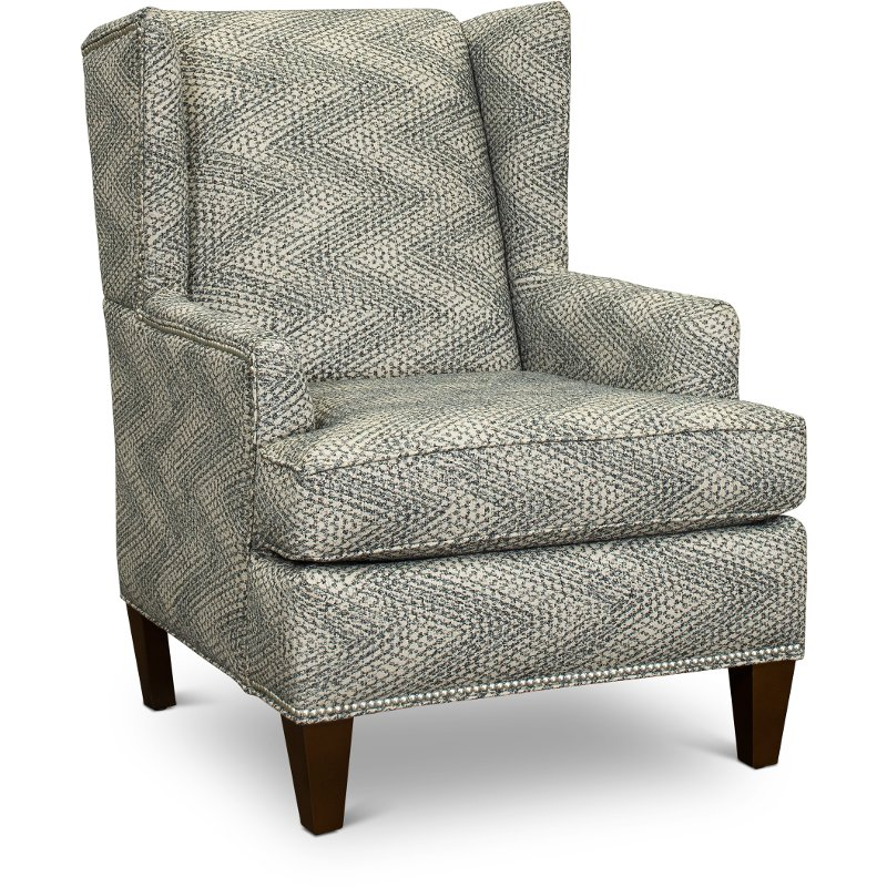 Wondrous Taupe And Blue Wingback Chair With Silver Nail Head Detailing Ibusinesslaw Wood Chair Design Ideas Ibusinesslaworg