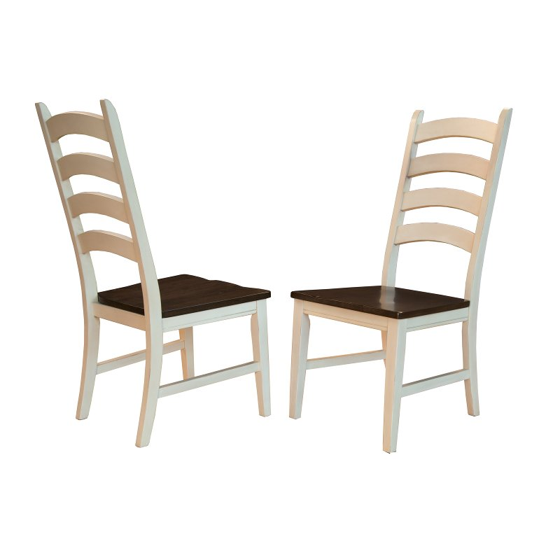 Farmhouse Cream and Brown Ladder Back Dining Room Chair - Toluca