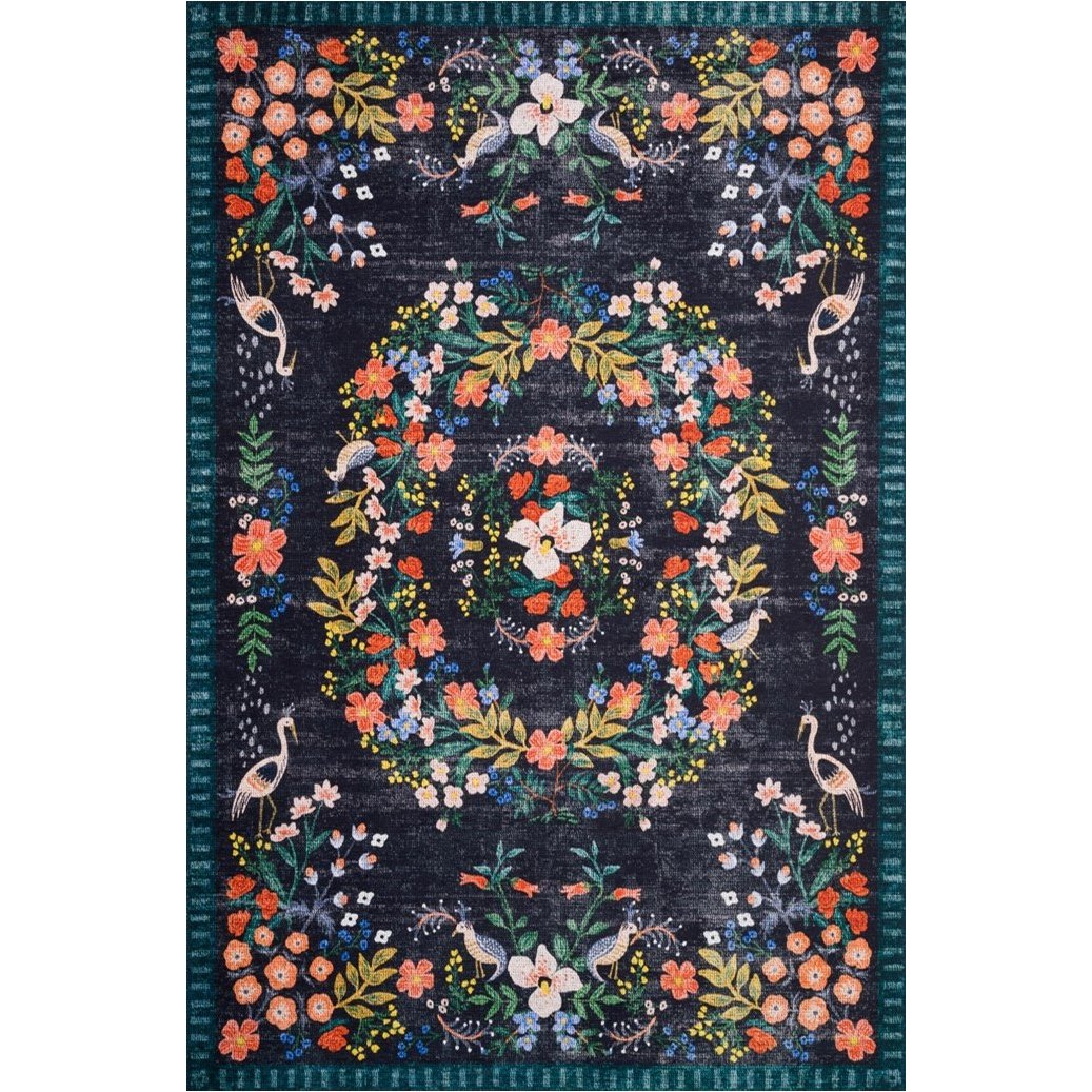 8 x 10 Large Black, Blue, and Coral Area Rug   Palais   RC Willey