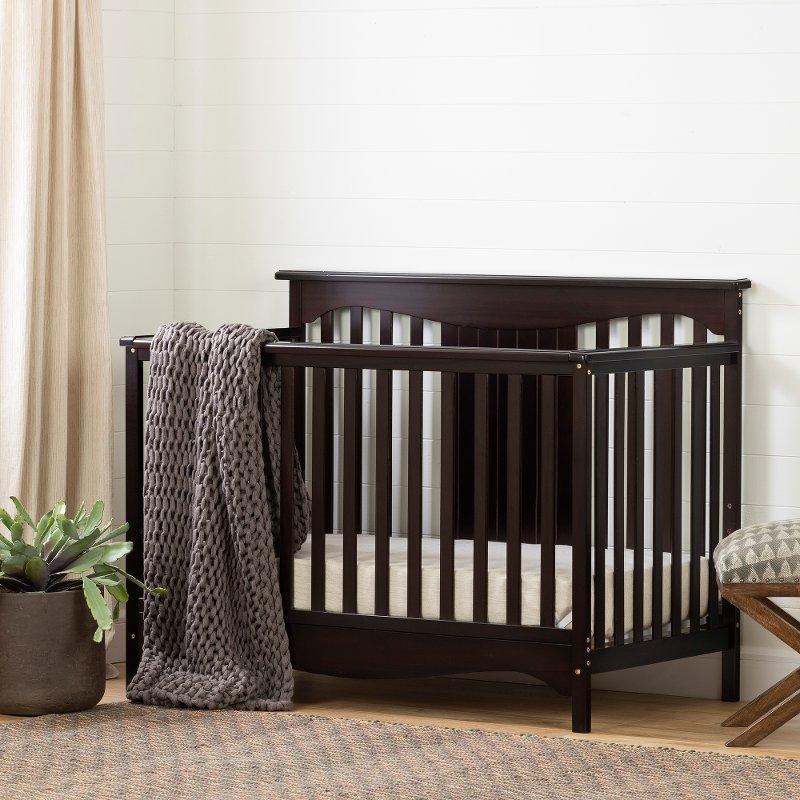 Clic Espresso Brown Crib With Toddler Rail Savannah