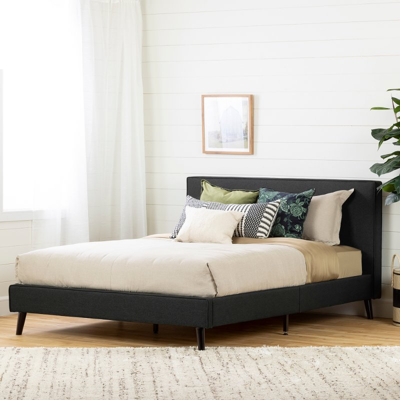 Modern Charcoal Gray Queen Upholstered Platform Bed - Gravity