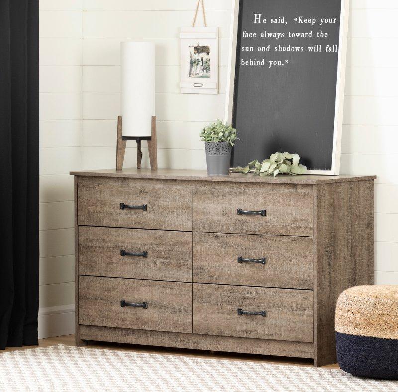 Farmhouse Weathered Oak Dresser, Weathered Oak Bedroom Furniture