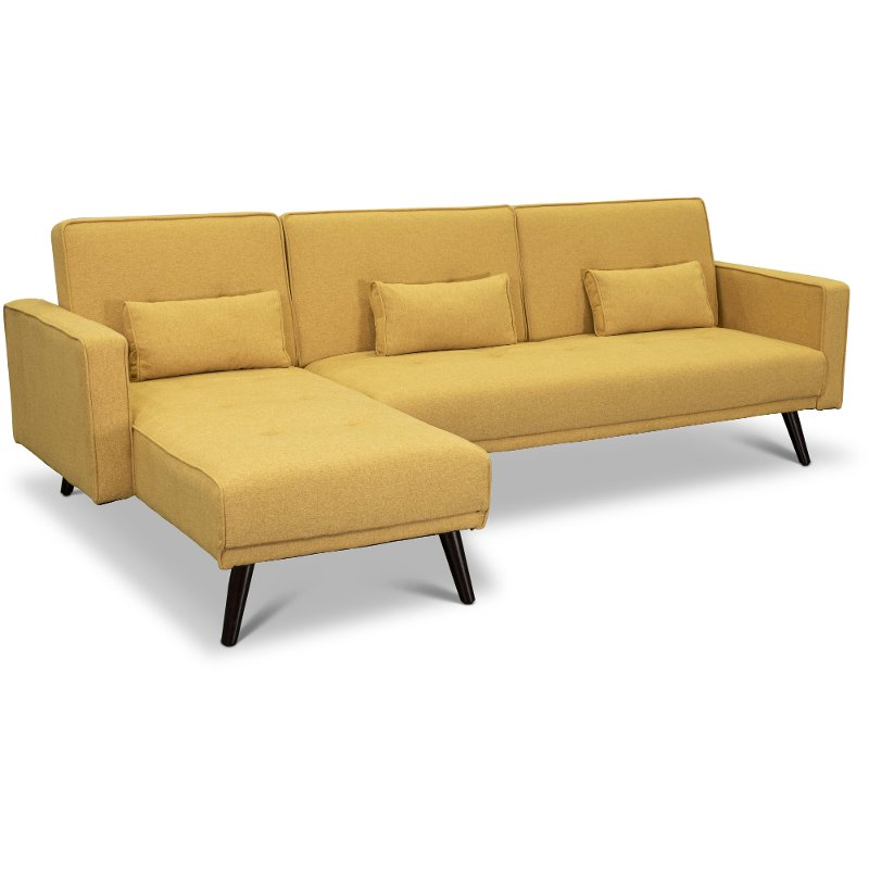 Madrid Mustard Yellow Convertible Sectional Sofa Bed With Chaise - Jenna | RC Willey Furniture Store