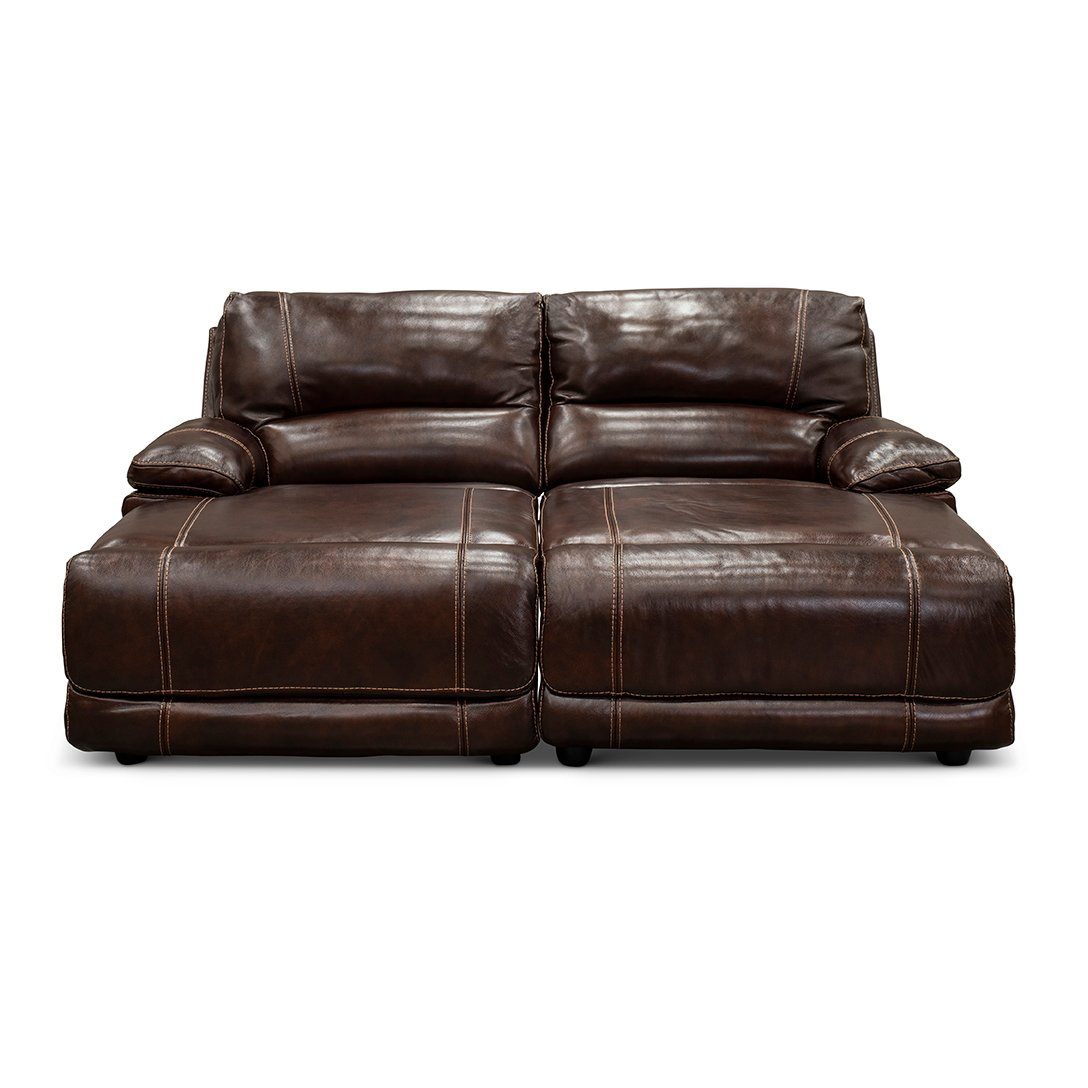 Brown Leather Match Reclining Double Chaise Sofa Brant