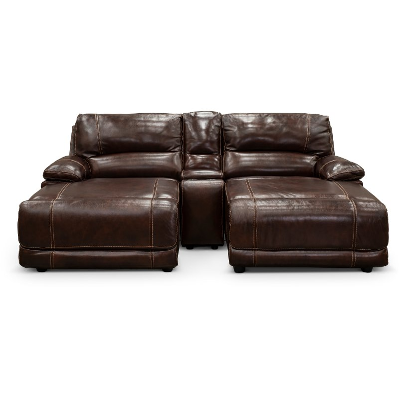 Brown Leather Match Reclining Double Chaise Sofa With Console Brant