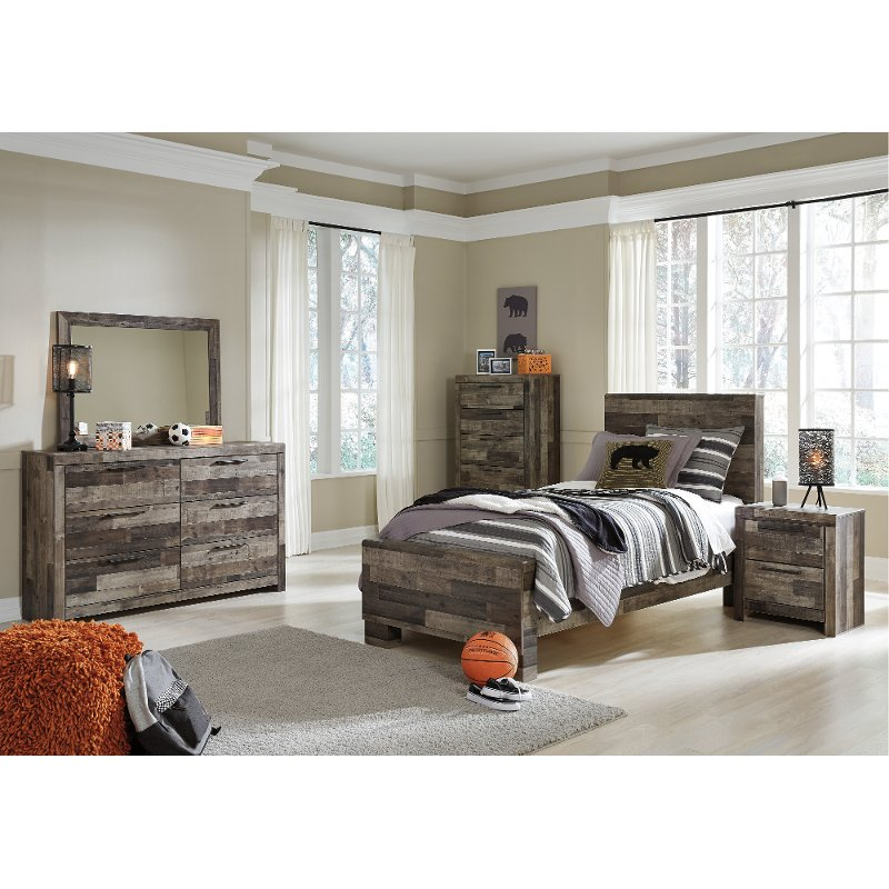 Modern Rustic 4 Piece Twin Bedroom Set - Broadmore