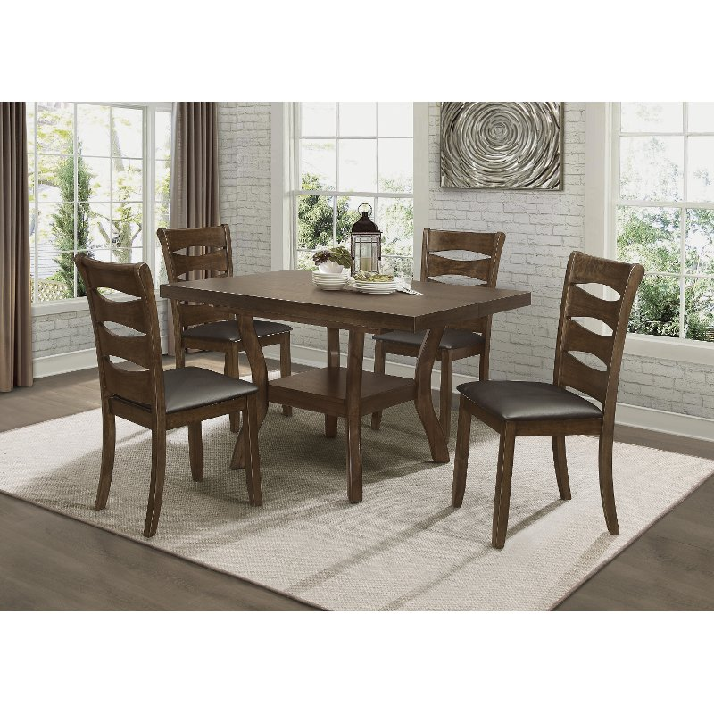 Darla Brown Cherry 5 Piece Dining Room, Casual Dining Room Sets
