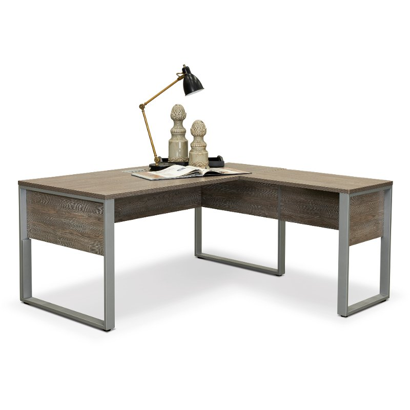Brilliant Gray Home Office Desk And Return Kalmar Collection Bralicious Painted Fabric Chair Ideas Braliciousco