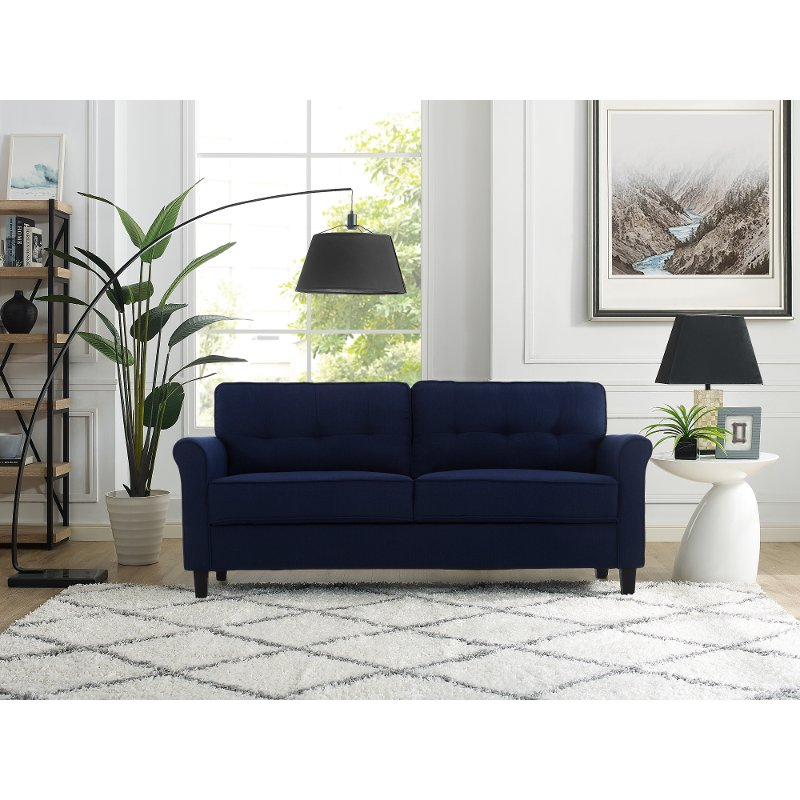 Classic Contemporary Navy Blue Sofa - Hanson