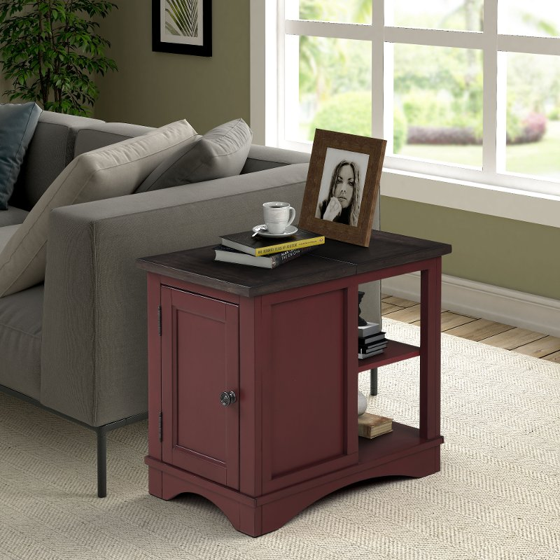 Rustic Cranberry Red Side Table - Americana