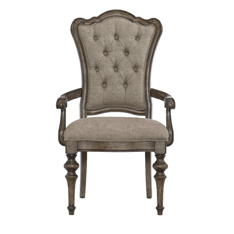 Traditional Brown Upholstered Dining Room Arm Chair - Heath Park