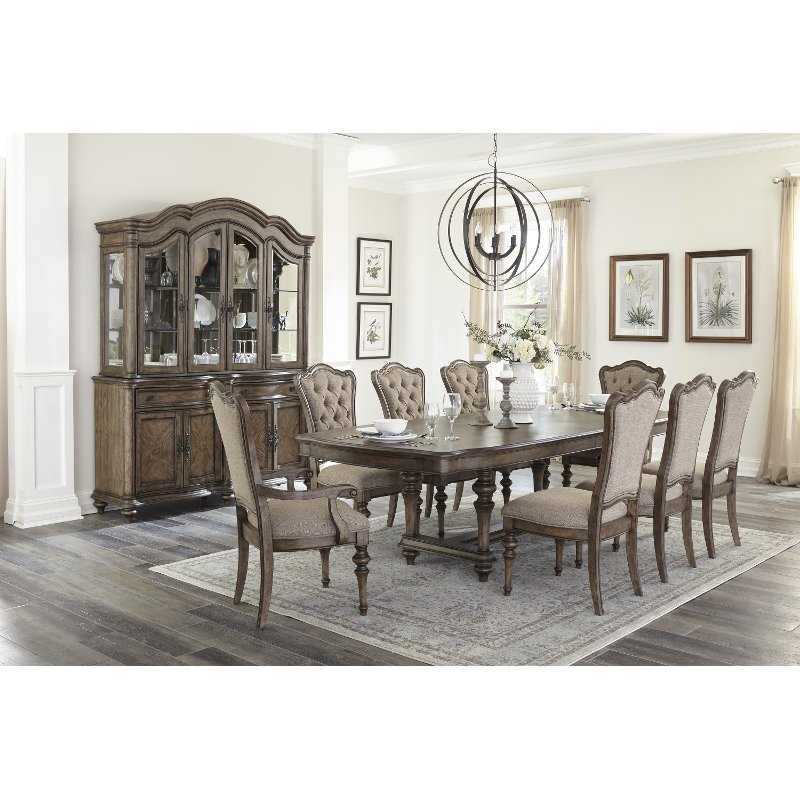 Traditional Brown 7 Piece Dining Set, 7 Piece Dining Room Set
