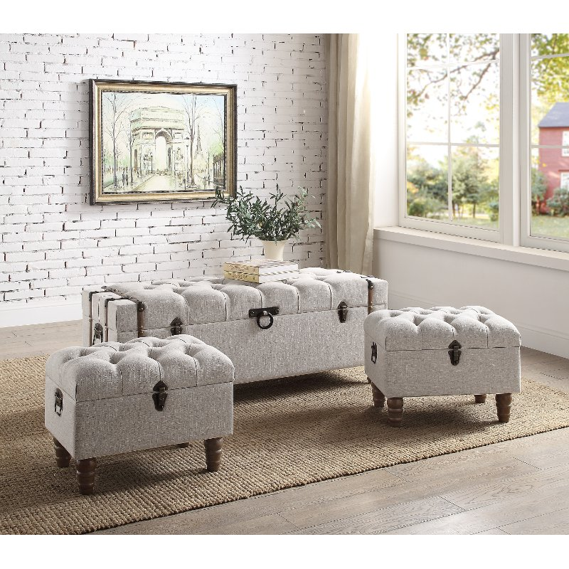 Incredible Taupe Button Tufted Storage Ottomans Set Of 3 Sachi Andrewgaddart Wooden Chair Designs For Living Room Andrewgaddartcom