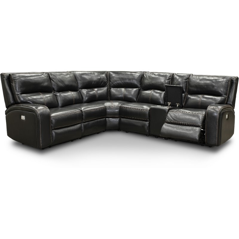 Excellent Black Leather Match 6 Piece Power Reclining Sectional Sofa Megan Evergreenethics Interior Chair Design Evergreenethicsorg