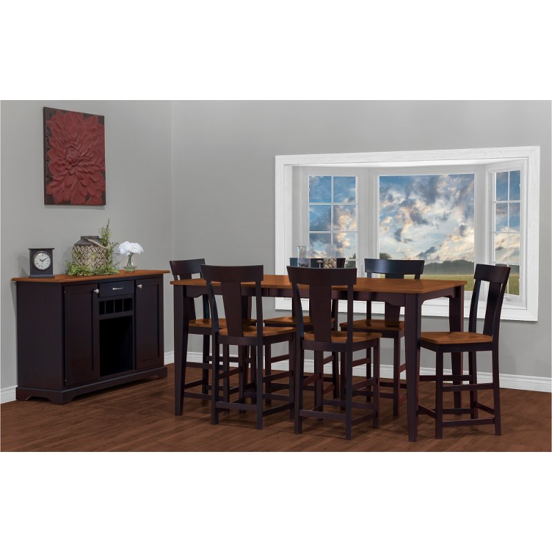 Pleasant Black And Brown 5 Piece Counter Height Dining Set With Rake Back Chairs Arlington Pdpeps Interior Chair Design Pdpepsorg