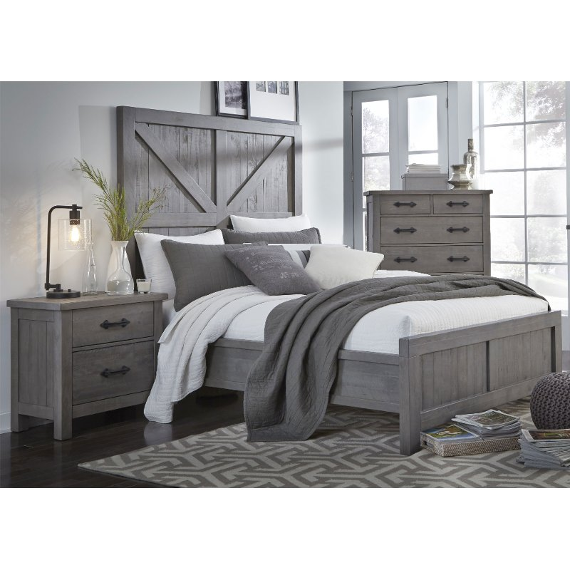 Rc Willey Outlet Center Now Closed: Rustic Contemporary Gray Queen Bed - Austin