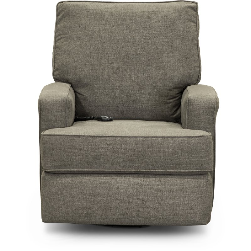 save off e9a87 cbc71 Pewter Gray Power Swivel Glider Recliner - Kersey